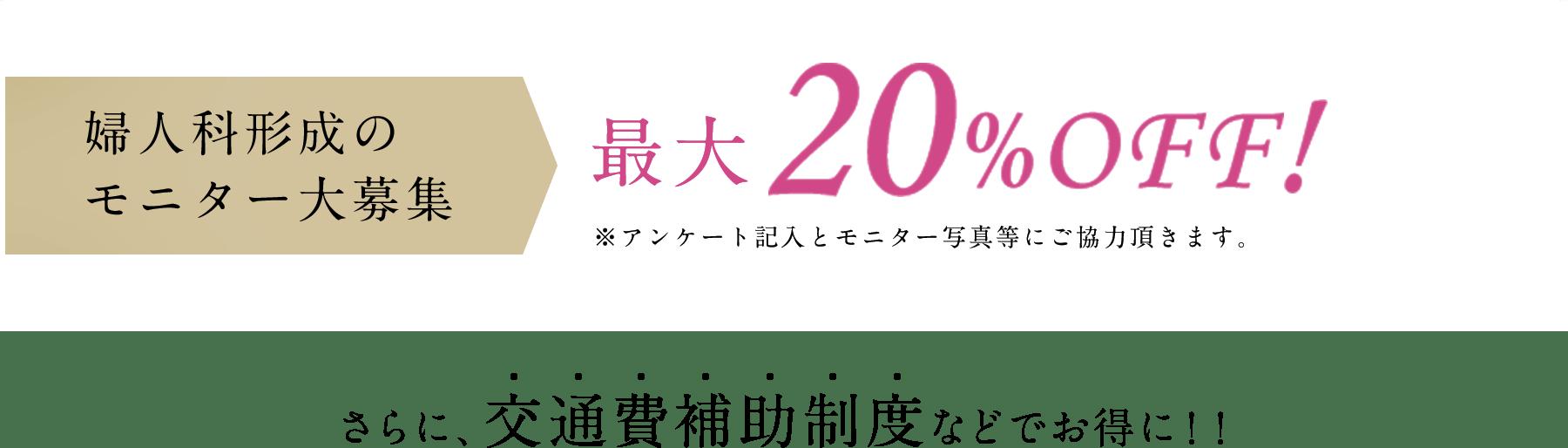婦人科形成のモニター大募集 最大20%OFF!